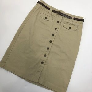 Christopher and Banks Tan Button up skirt Size 8
